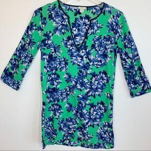 J. Crew 3/4 Sleeve Green & Blue Floral Tunic XXS